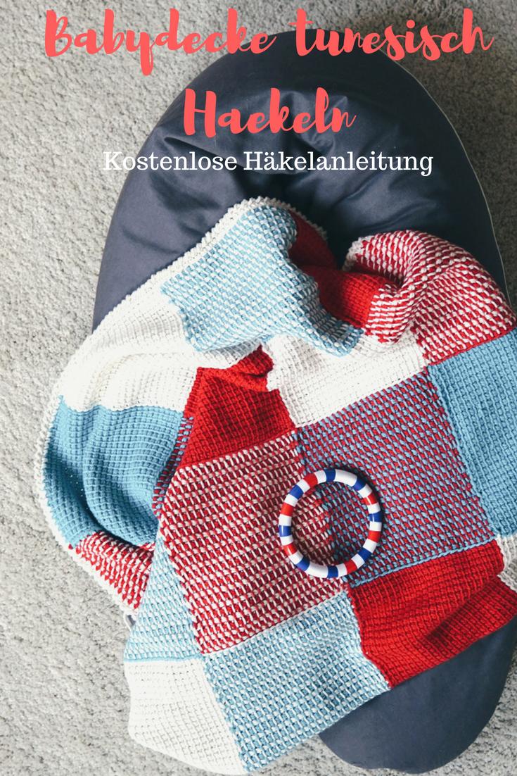 Babydecke tunesisch häkeln - kostenlose Häkelanleitung - haekelgold.de